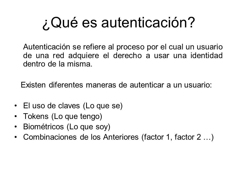 ¿Qué es autenticación? Autenticación se refiere al proceso por el cual un usuario de una red adquiere el derecho a usar una identidad dentro de la mis
