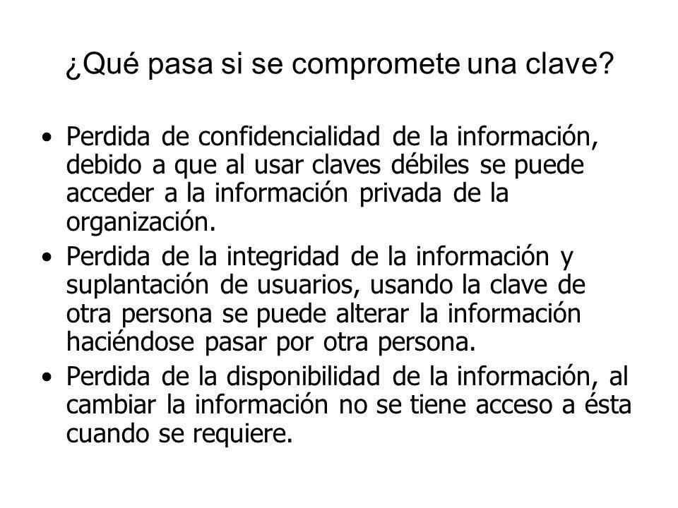 ¿Qué pasa si se compromete una clave? Perdida de confidencialidad de la información, debido a que al usar claves débiles se puede acceder a la informa