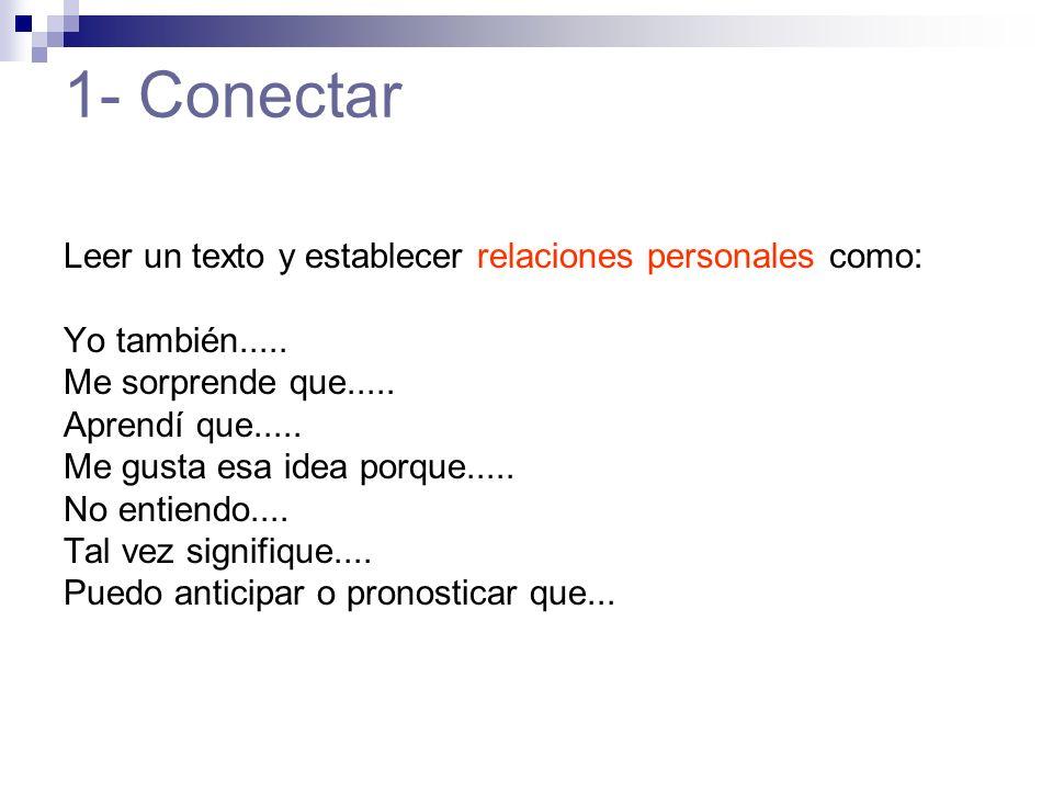 1- Conectar Leer un texto y establecer relaciones personales como: Yo también.....