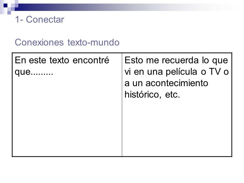 1- Conectar Conexiones texto-mundo En este texto encontré que.........
