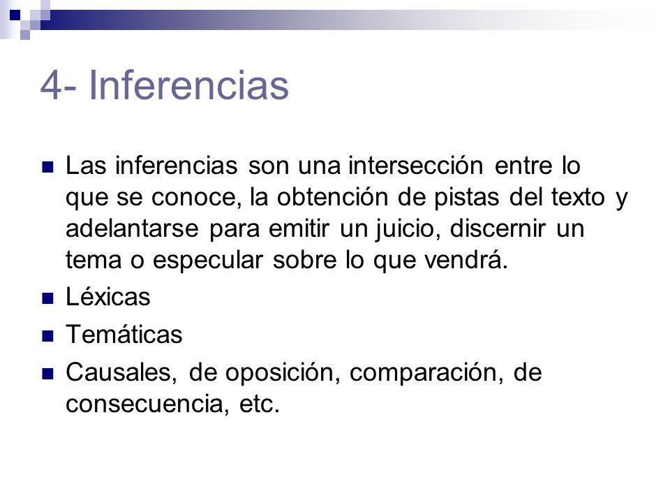 4- Inferencias Las inferencias son una intersección entre lo que se conoce, la obtención de pistas del texto y adelantarse para emitir un juicio, discernir un tema o especular sobre lo que vendrá.