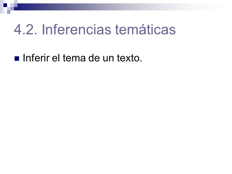 4.2. Inferencias temáticas Inferir el tema de un texto.