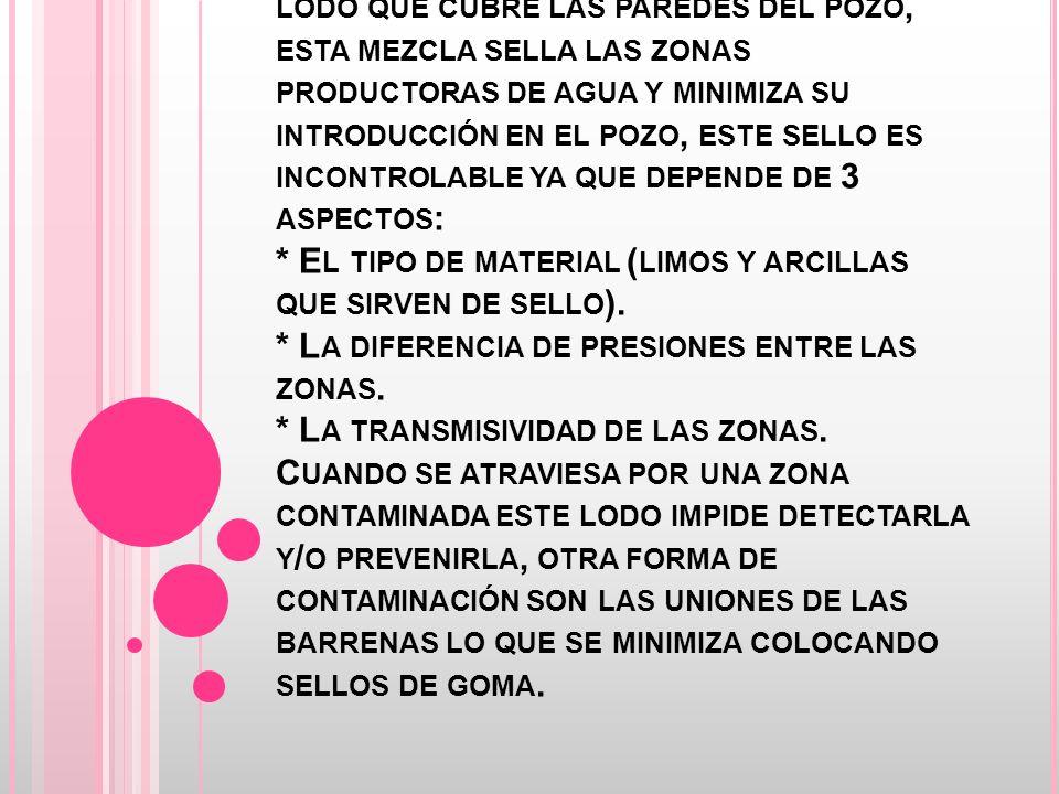 E S POSIBLE PENETRAR HASTA LA ZONA SATURADA, POR LO QUE LA MUESTRA DE MATERIAL FINO Y AGUA PUEDE FORMAR UN LODO QUE CUBRE LAS PAREDES DEL POZO, ESTA MEZCLA SELLA LAS ZONAS PRODUCTORAS DE AGUA Y MINIMIZA SU INTRODUCCIÓN EN EL POZO, ESTE SELLO ES INCONTROLABLE YA QUE DEPENDE DE 3 ASPECTOS : * E L TIPO DE MATERIAL ( LIMOS Y ARCILLAS QUE SIRVEN DE SELLO ).