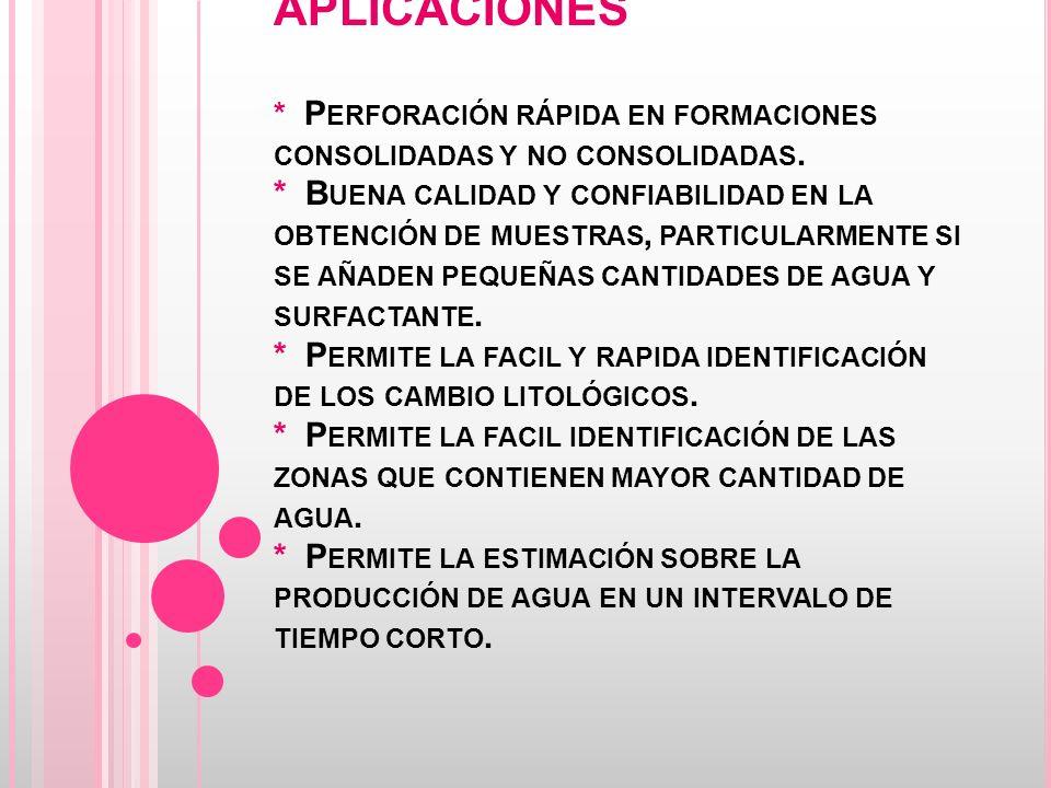 APLICACIONES * P ERFORACIÓN RÁPIDA EN FORMACIONES CONSOLIDADAS Y NO CONSOLIDADAS.