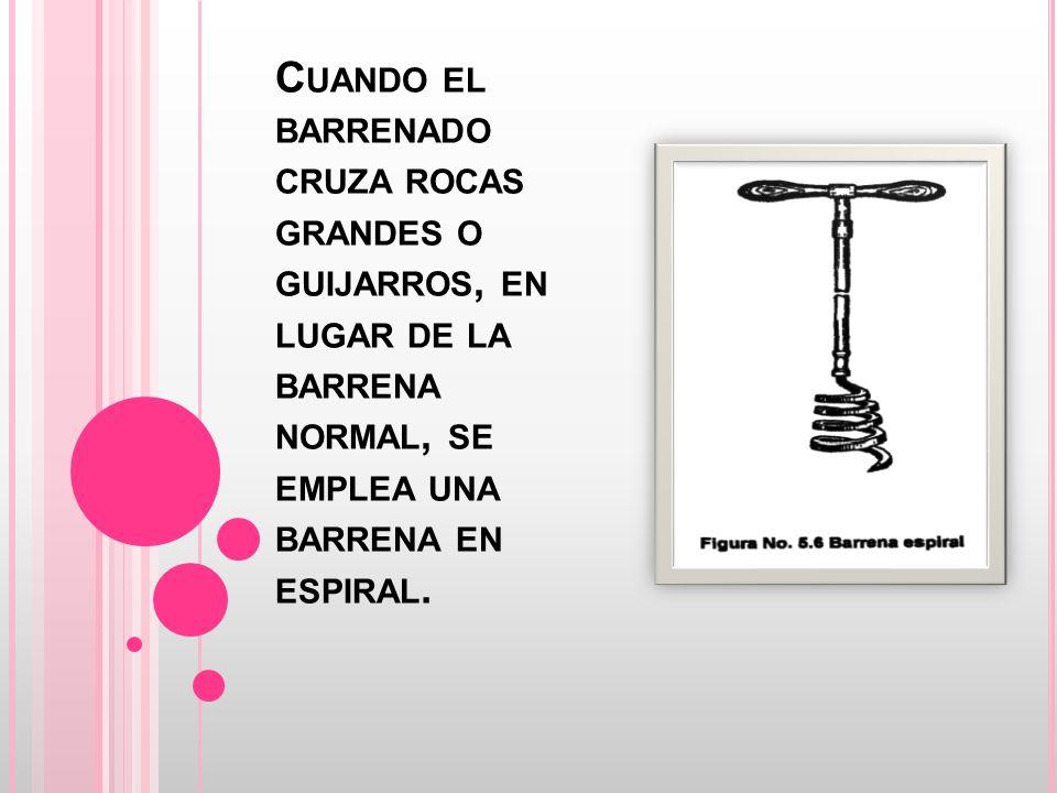 C UANDO EL BARRENADO CRUZA ROCAS GRANDES O GUIJARROS, EN LUGAR DE LA BARRENA NORMAL, SE EMPLEA UNA BARRENA EN ESPIRAL.