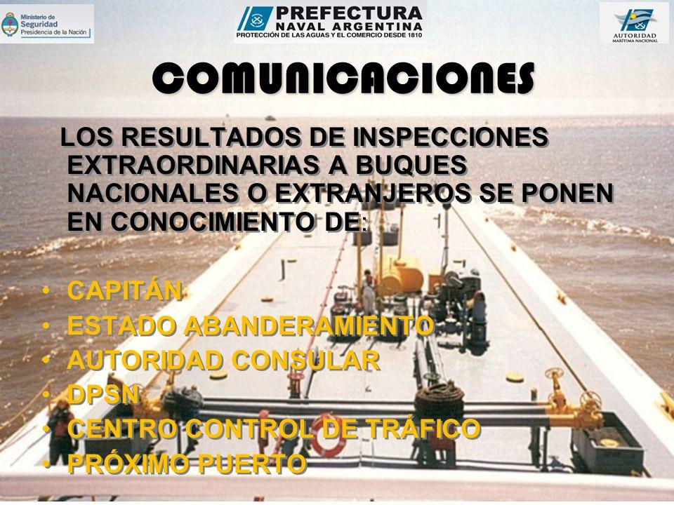 COMUNICACIONES LOS RESULTADOS DE INSPECCIONES EXTRAORDINARIAS A BUQUES NACIONALES O EXTRANJEROS SE PONEN EN CONOCIMIENTO DE: CAPITÁN ESTADO ABANDERAMIENTO AUTORIDAD CONSULAR DPSN CENTRO CONTROL DE TRÁFICO PRÓXIMO PUERTO LOS RESULTADOS DE INSPECCIONES EXTRAORDINARIAS A BUQUES NACIONALES O EXTRANJEROS SE PONEN EN CONOCIMIENTO DE: CAPITÁN ESTADO ABANDERAMIENTO AUTORIDAD CONSULAR DPSN CENTRO CONTROL DE TRÁFICO PRÓXIMO PUERTO