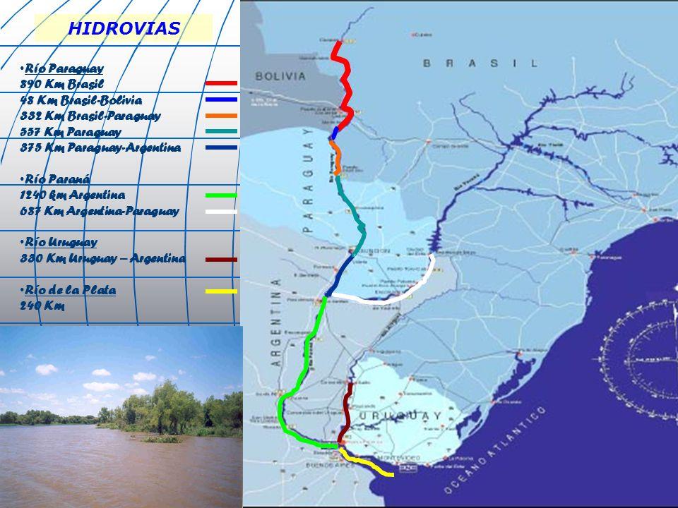 Río Paraguay 890 Km Brasil 48 Km Brasil-Bolivia 332 Km Brasil-Paraguay 557 Km Paraguay 375 Km Paraguay-Argentina Río Paraná 1240 km Argentina 687 Km A