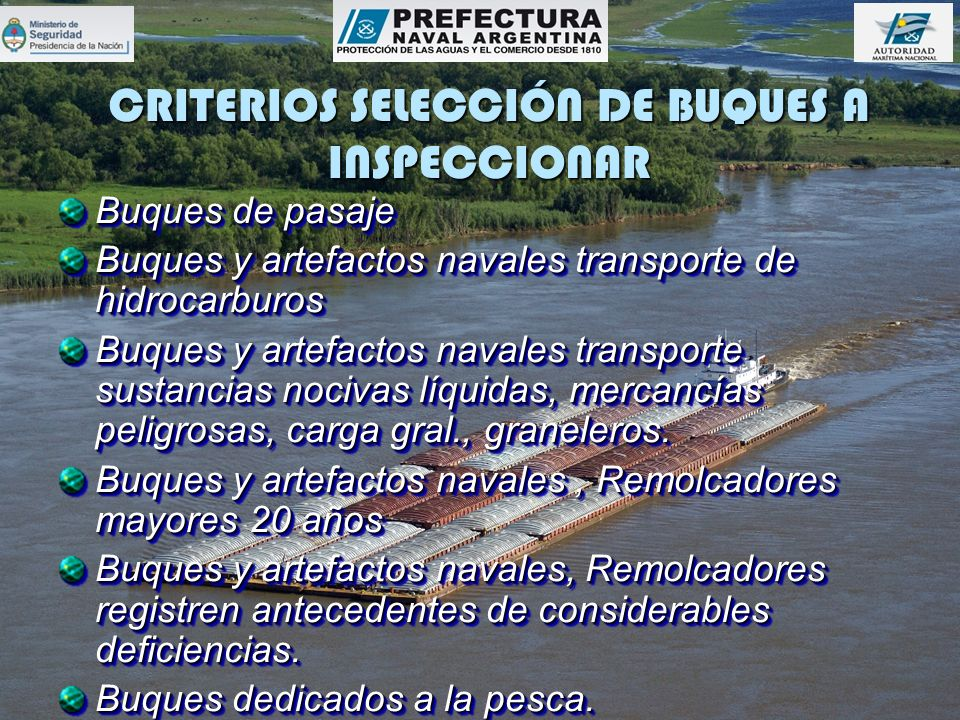 CRITERIOS SELECCIÓN DE BUQUES A INSPECCIONAR Buques de pasaje Buques y artefactos navales transporte de hidrocarburos Buques y artefactos navales tran