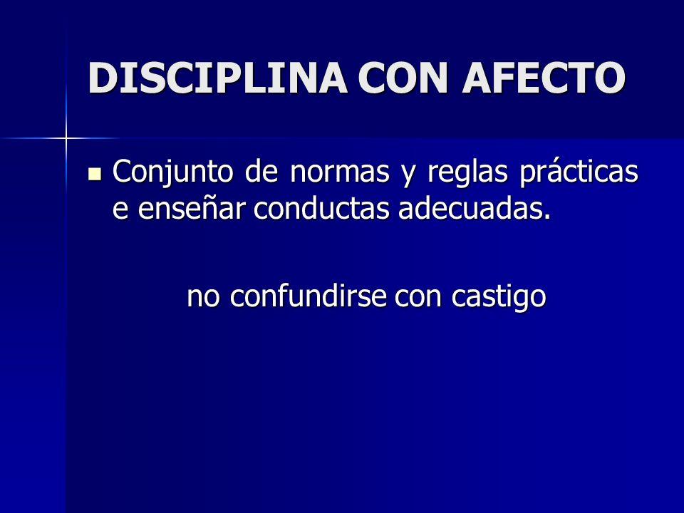 DISCIPLINA CON AFECTO Conjunto de normas y reglas prácticas e enseñar conductas adecuadas. Conjunto de normas y reglas prácticas e enseñar conductas a