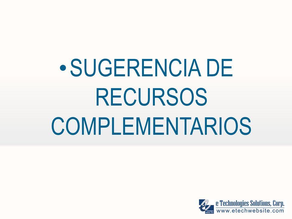SUGERENCIA DE RECURSOS COMPLEMENTARIOS