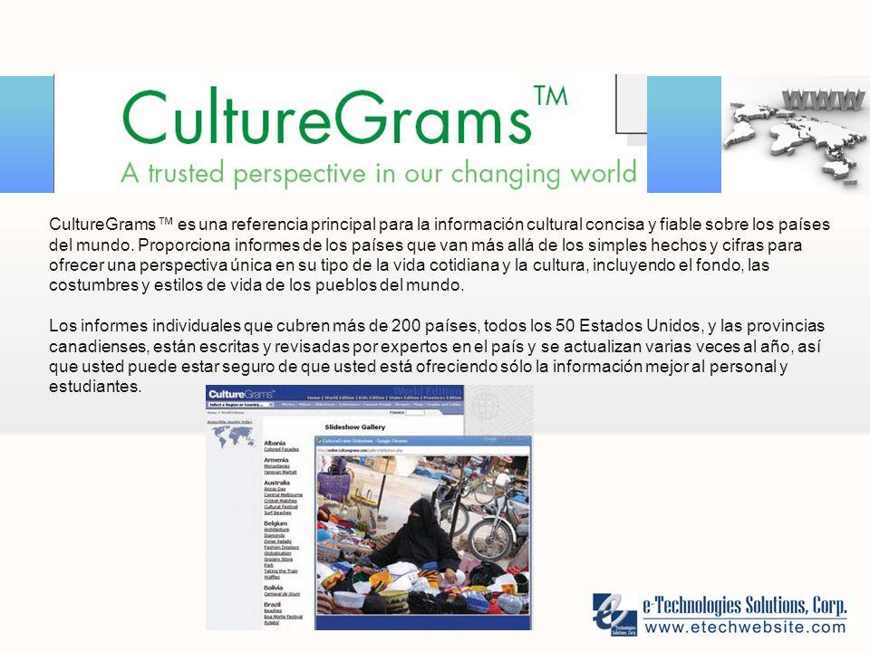 CultureGrams es una referencia principal para la información cultural concisa y fiable sobre los países del mundo.