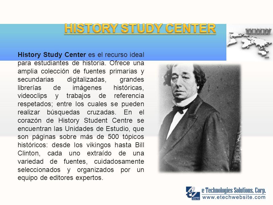 History Study Center es el recurso ideal para estudiantes de historia.