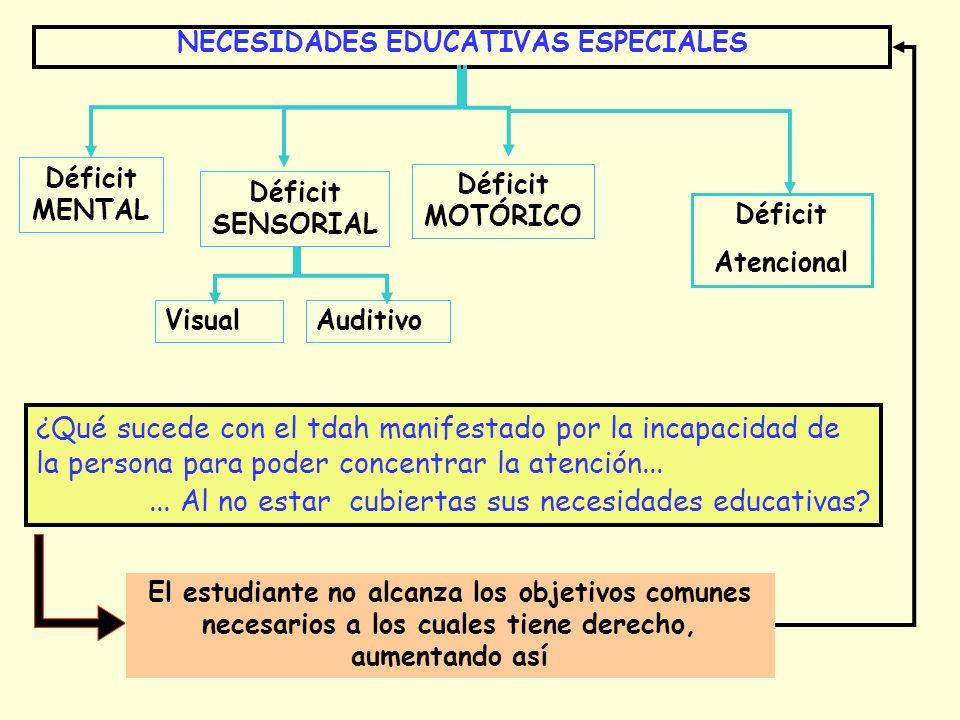 NECESIDADES EDUCATIVAS ESPECIALES Déficit MENTAL Déficit SENSORIAL Déficit MOTÓRICO VisualAuditivo Déficit Atencional ¿Qué sucede con el tdah manifest