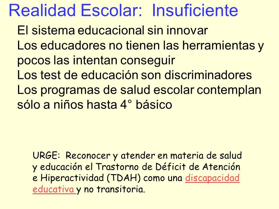 Realidad Escolar: Insuficiente El sistema educacional sin innovar Los educadores no tienen las herramientas y pocos las intentan conseguir Los test de