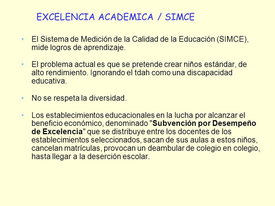 El Sistema de Medición de la Calidad de la Educación (SIMCE), mide logros de aprendizaje. El problema actual es que se pretende crear niños estándar,