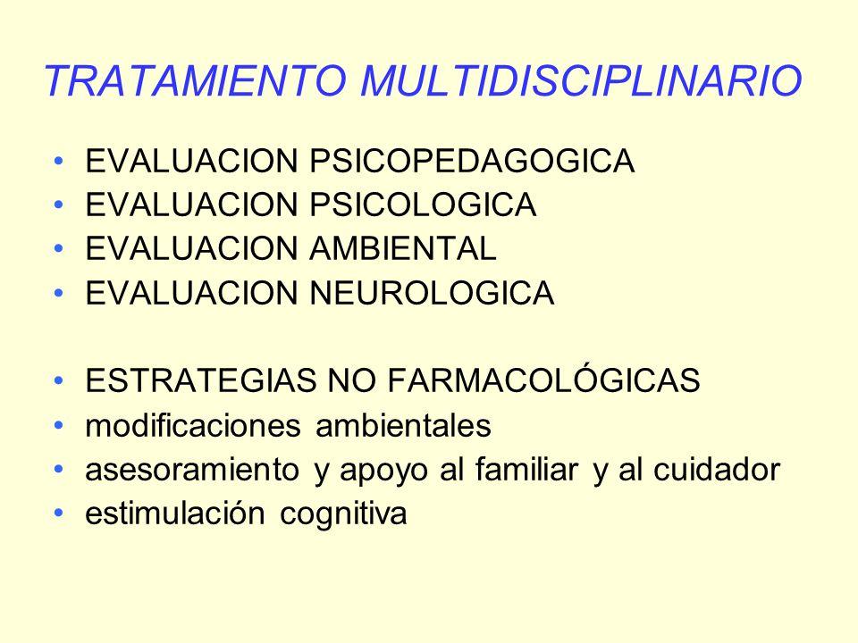 TRATAMIENTO MULTIDISCIPLINARIO EVALUACION PSICOPEDAGOGICA EVALUACION PSICOLOGICA EVALUACION AMBIENTAL EVALUACION NEUROLOGICA ESTRATEGIAS NO FARMACOLÓG