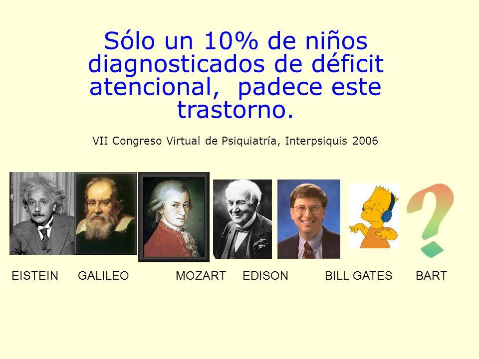 Sólo un 10% de niños diagnosticados de déficit atencional, padece este trastorno. VII Congreso Virtual de Psiquiatría, Interpsiquis 2006 EISTEIN GALIL