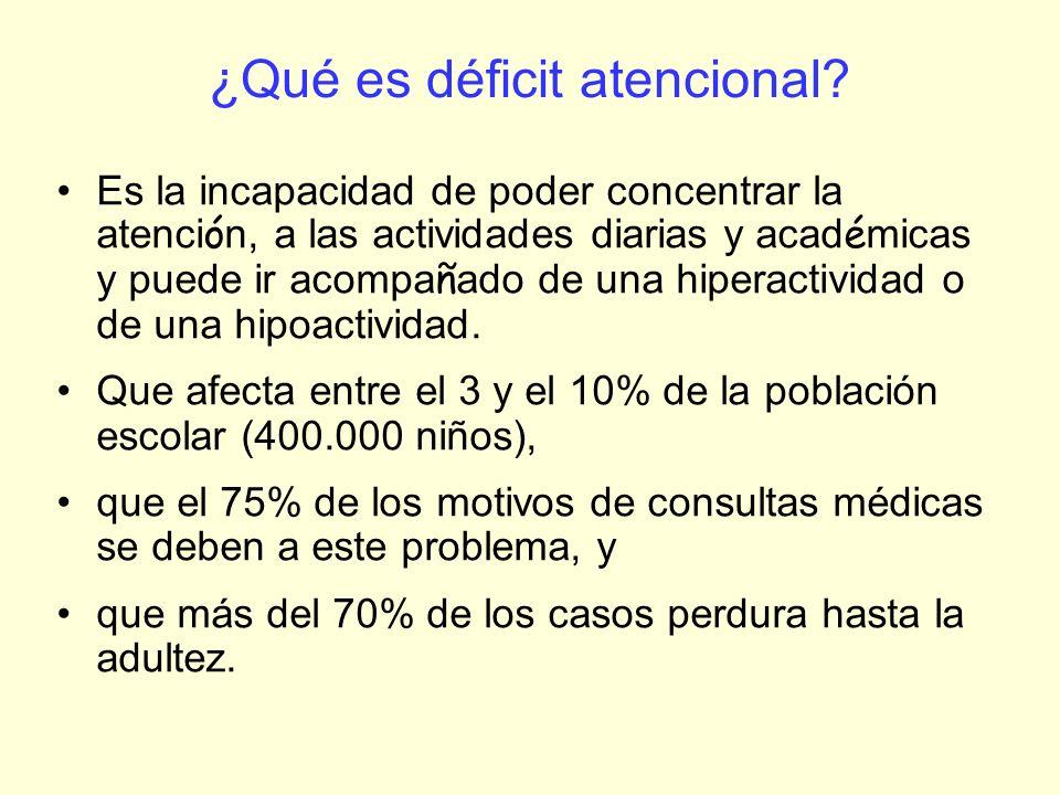 ¿Qué es déficit atencional? Es la incapacidad de poder concentrar la atenci ó n, a las actividades diarias y acad é micas y puede ir acompa ñ ado de u