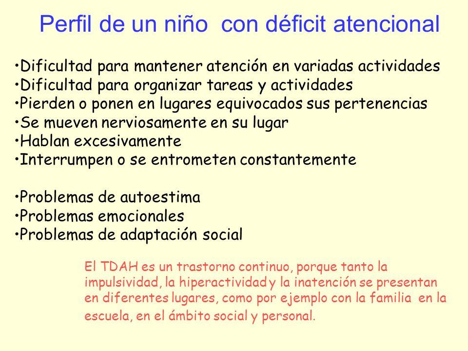Perfil de un niño con déficit atencional Dificultad para mantener atención en variadas actividades Dificultad para organizar tareas y actividades Pier