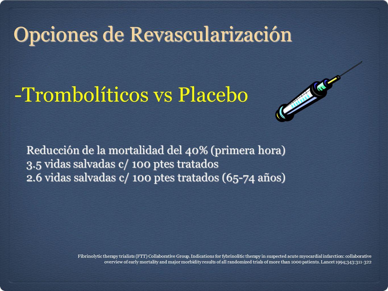 Opciones de Revascularización -Trombolíticos vs Placebo Reducción de la mortalidad del 40% (primera hora) 3.5 vidas salvadas c/ 100 ptes tratados 2.6 vidas salvadas c/ 100 ptes tratados (65-74 años) Fibrinolytic therapy trialists (FTT) Collaborative Group.