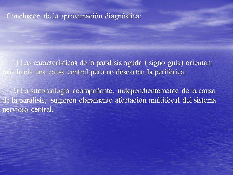 Conclusión de la aproximación diagnóstica: 1) Las características de la parálisis aguda ( signo guía) orientan más hacia una causa central pero no des