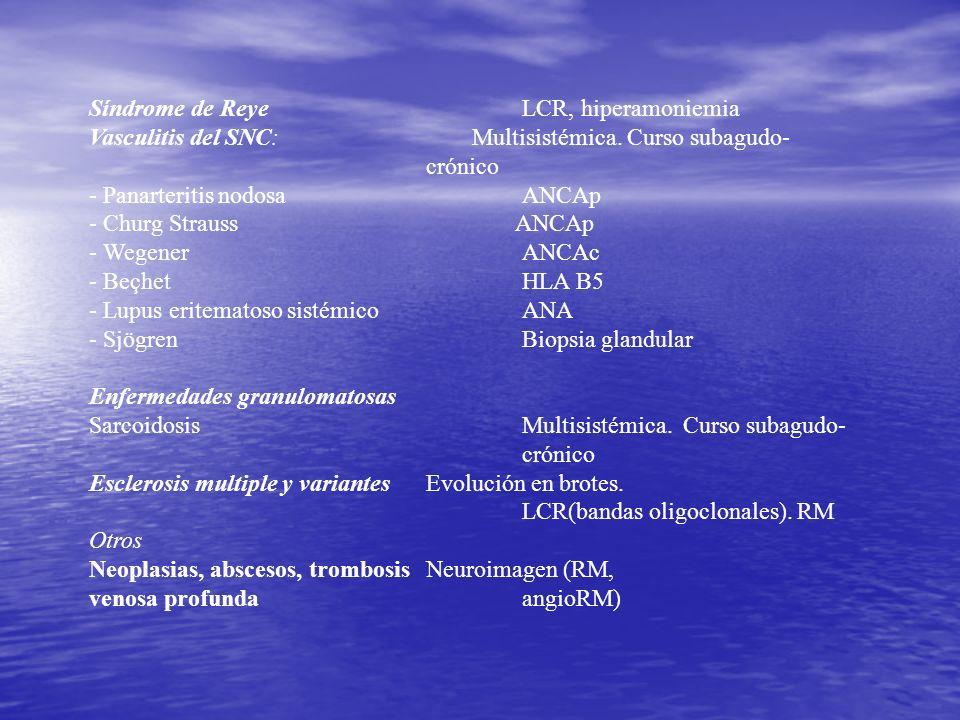 Síndrome de Reye LCR, hiperamoniemia Vasculitis del SNC: Multisistémica. Curso subagudo- crónico - Panarteritis nodosa ANCAp - Churg Strauss ANCAp - W