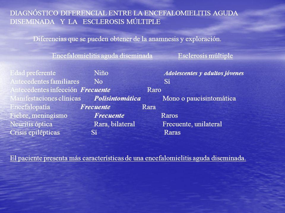 DIAGNÓSTICO DIFERENCIAL ENTRE LA ENCEFALOMIELITIS AGUDA DISEMINADA Y LA ESCLEROSIS MÚLTIPLE Diferencias que se pueden obtener de la anamnesis y explor