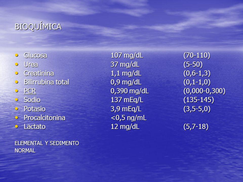 LCR: Es un líquido claro de aspecto normal GLUCOSA: 59 mg/dl (glucemia: 107 mg/dl) PROTEINAS TOTALES: 110 mg/dl (20 - 50) CÉLULAS: 36/mm 3 ( 0 - 6) PMN: 10% Linfocitos: 90% Con estos datos, descartamos por lo tanto meningitis bacteriana (incluida la meningitis decapitada), de modo que se decide suspender el tratamiento con cefotaxima.