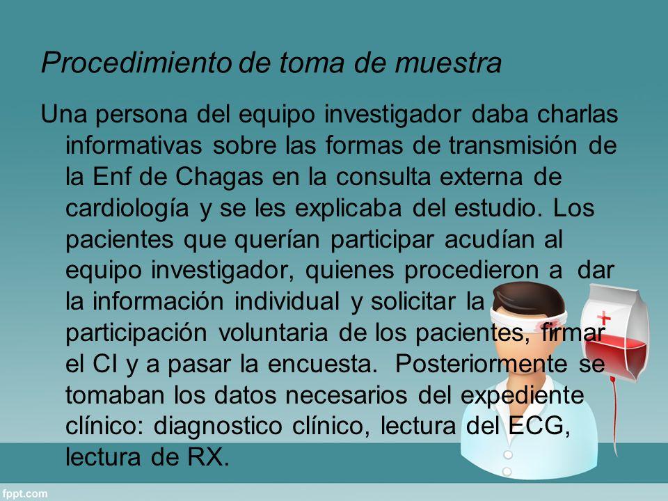 Procedimiento de toma de muestra Una persona del equipo investigador daba charlas informativas sobre las formas de transmisión de la Enf de Chagas en la consulta externa de cardiología y se les explicaba del estudio.