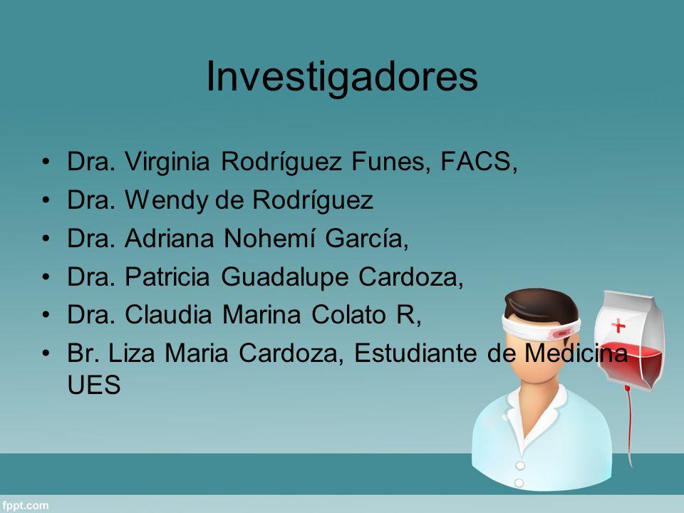 Investigadores Dra. Virginia Rodríguez Funes, FACS, Dra. Wendy de Rodríguez Dra. Adriana Nohemí García, Dra. Patricia Guadalupe Cardoza, Dra. Claudia