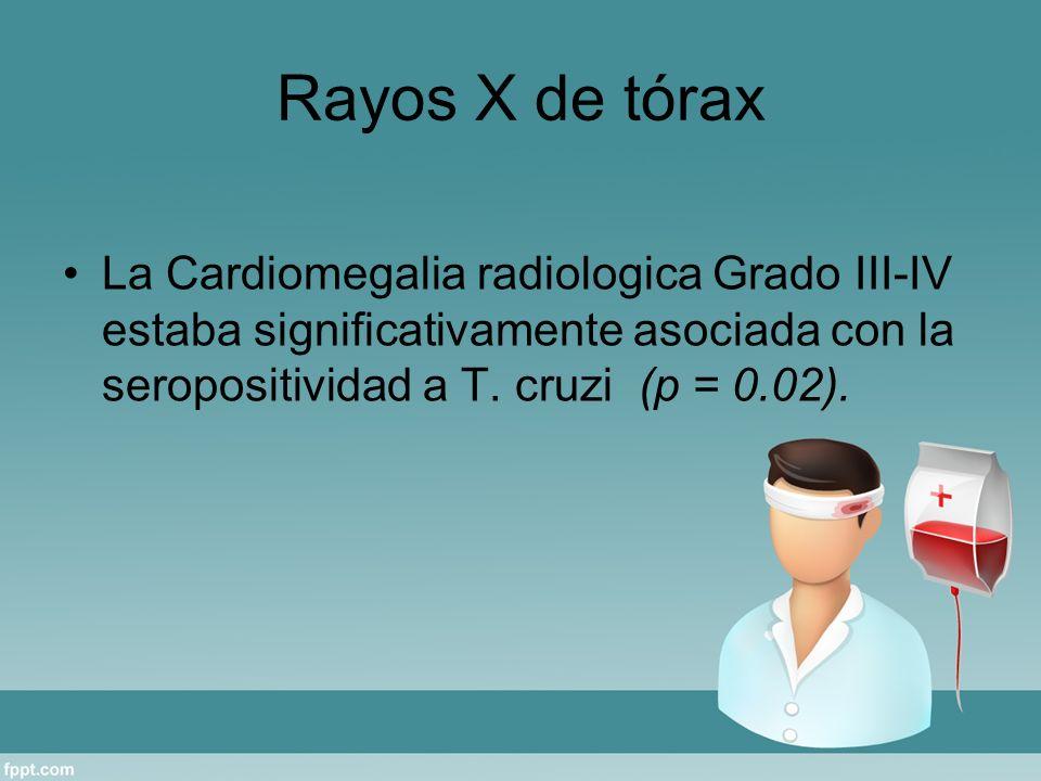 Rayos X de tórax La Cardiomegalia radiologica Grado III-IV estaba significativamente asociada con la seropositividad a T. cruzi (p = 0.02).