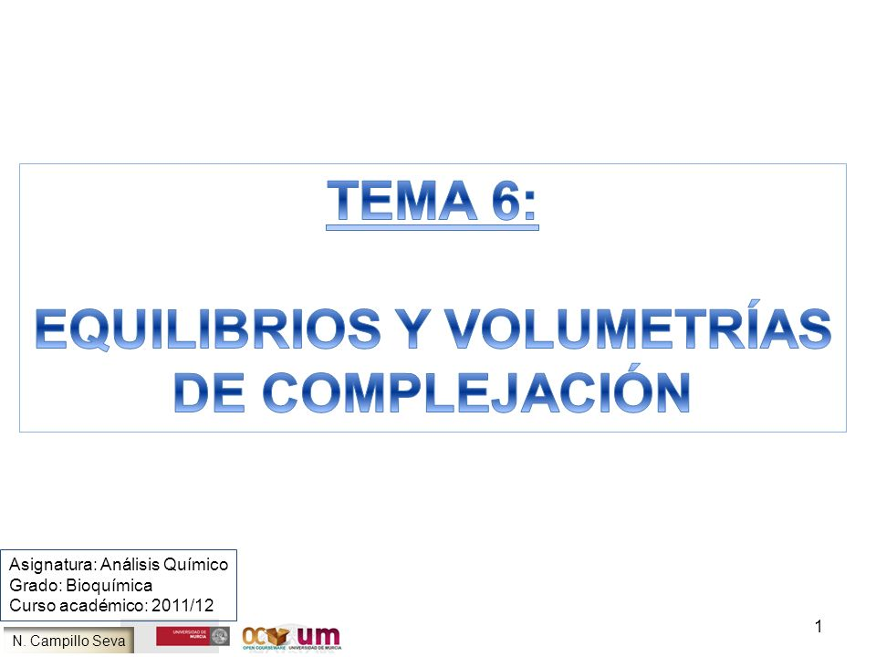 N. Campillo Seva 1 Asignatura: Análisis Químico Grado: Bioquímica Curso académico: 2011/12