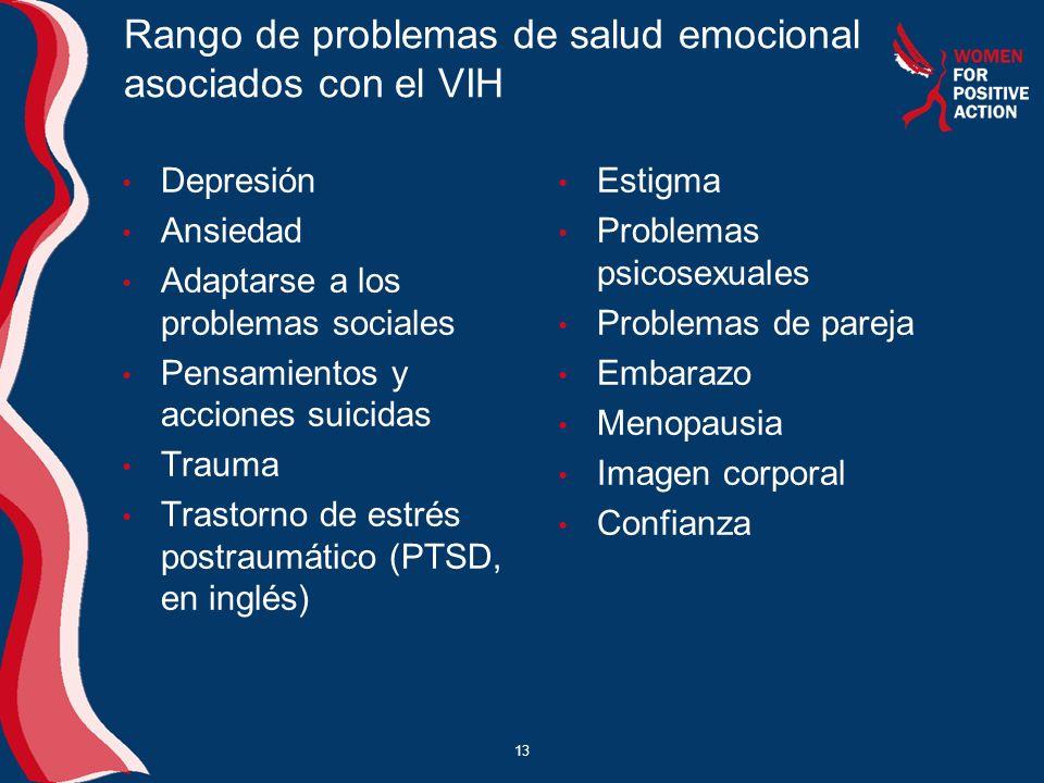 13 Rango de problemas de salud emocional asociados con el VIH Depresión Ansiedad Adaptarse a los problemas sociales Pensamientos y acciones suicidas T