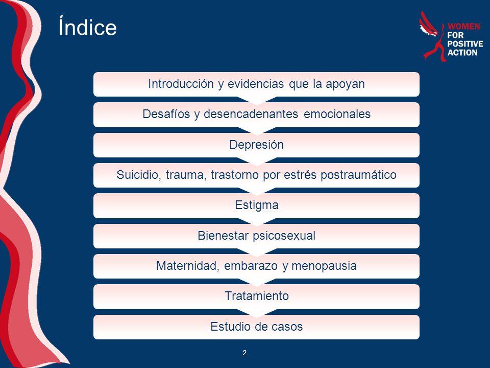 2 Índice Introducción y evidencias que la apoyan Desafíos y desencadenantes emocionales Depresión Suicidio, trauma, trastorno por estrés postraumático
