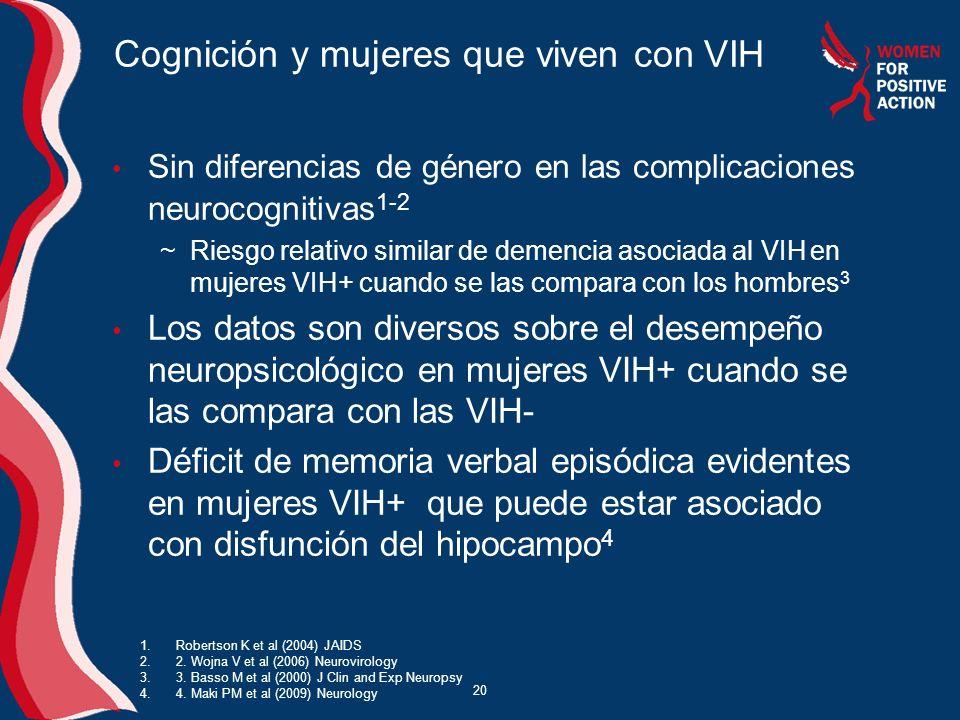 20 Cognición y mujeres que viven con VIH Sin diferencias de género en las complicaciones neurocognitivas 1-2 ~Riesgo relativo similar de demencia asoc