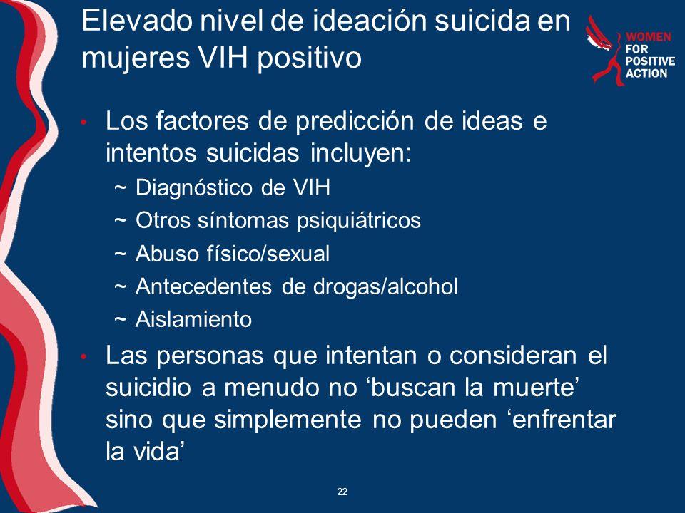 22 Elevado nivel de ideación suicida en mujeres VIH positivo Los factores de predicción de ideas e intentos suicidas incluyen: ~Diagnóstico de VIH ~Ot