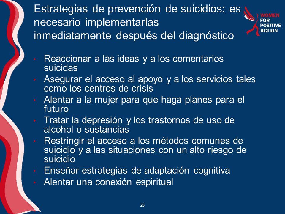 23 Estrategias de prevención de suicidios: es necesario implementarlas inmediatamente después del diagnóstico Reaccionar a las ideas y a los comentari