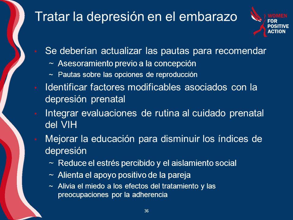 36 Tratar la depresión en el embarazo Se deberían actualizar las pautas para recomendar ~Asesoramiento previo a la concepción ~Pautas sobre las opcion