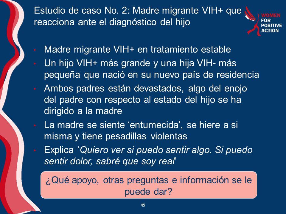 45 Madre migrante VIH+ en tratamiento estable Un hijo VIH+ más grande y una hija VIH- más pequeña que nació en su nuevo país de residencia Ambos padre