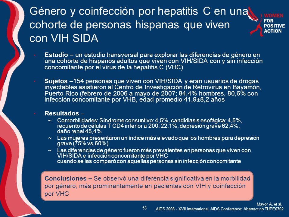 Estudio – un estudio transversal para explorar las diferencias de género en una cohorte de hispanos adultos que viven con VIH/SIDA con y sin infección