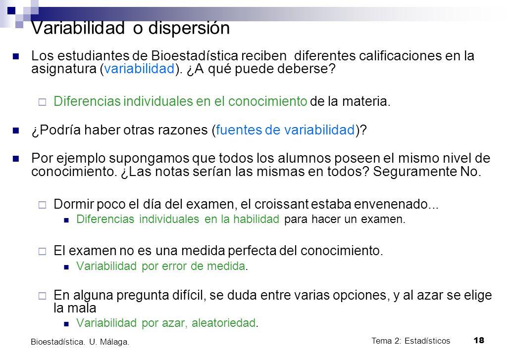 Tema 2: Estadísticos18 Bioestadística. U. Málaga. Variabilidad o dispersión Los estudiantes de Bioestadística reciben diferentes calificaciones en la
