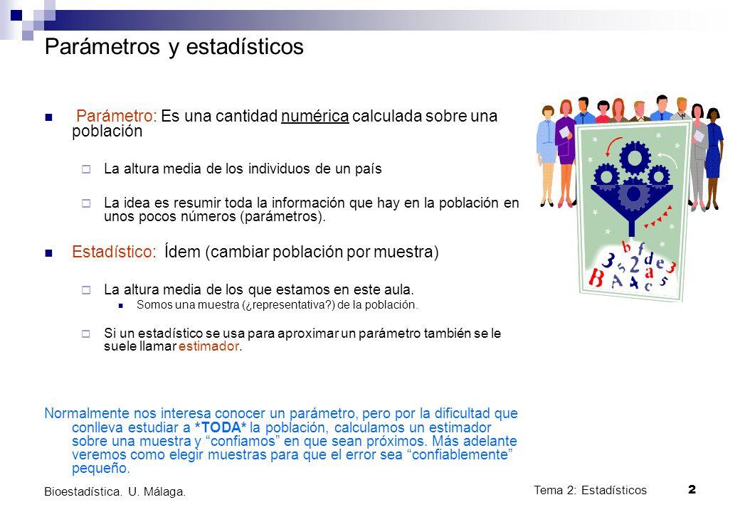 2 Bioestadística. U. Málaga. Parámetros y estadísticos Parámetro: Es una cantidad numérica calculada sobre una población La altura media de los indivi