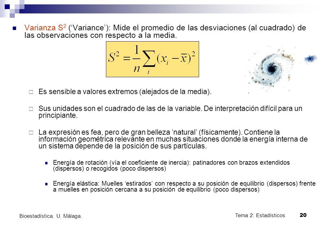 Tema 2: Estadísticos20 Bioestadística. U. Málaga. Varianza S 2 (Variance): Mide el promedio de las desviaciones (al cuadrado) de las observaciones con