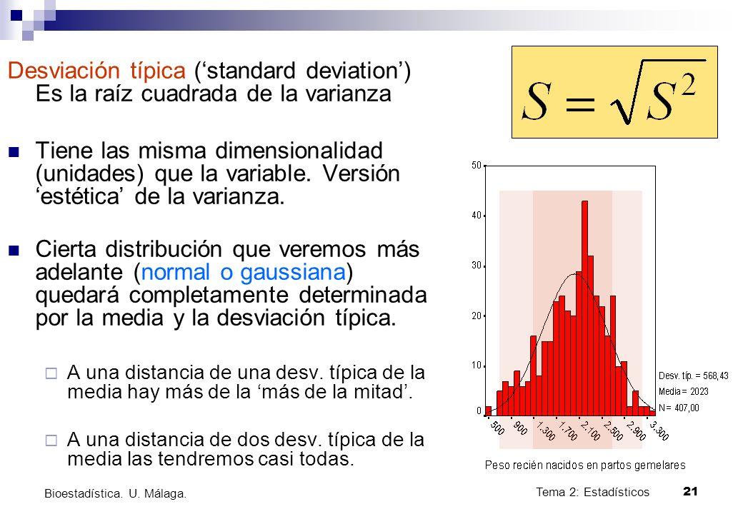 Tema 2: Estadísticos21 Bioestadística. U. Málaga. Desviación típica (standard deviation) Es la raíz cuadrada de la varianza Tiene las misma dimensiona