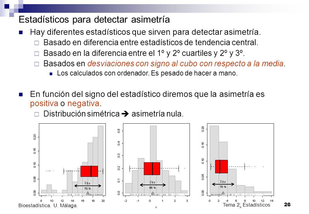 Tema 2: Estadísticos26 Bioestadística. U. Málaga. Estadísticos para detectar asimetría Hay diferentes estadísticos que sirven para detectar asimetría.