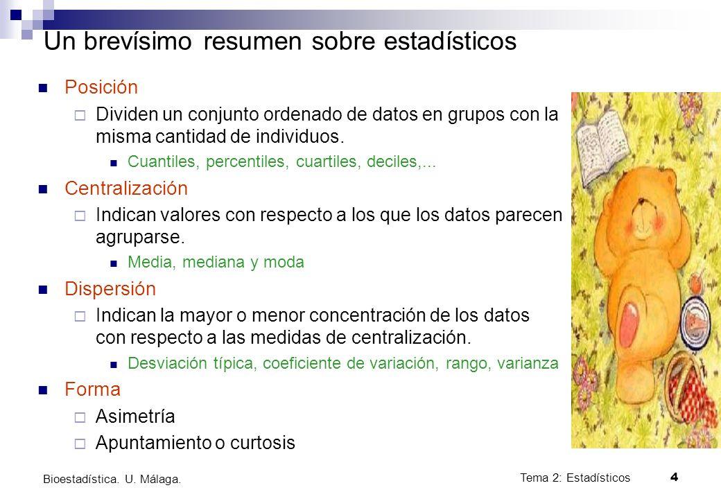Tema 2: Estadísticos4 Bioestadística. U. Málaga. Un brevísimo resumen sobre estadísticos Posición Dividen un conjunto ordenado de datos en grupos con