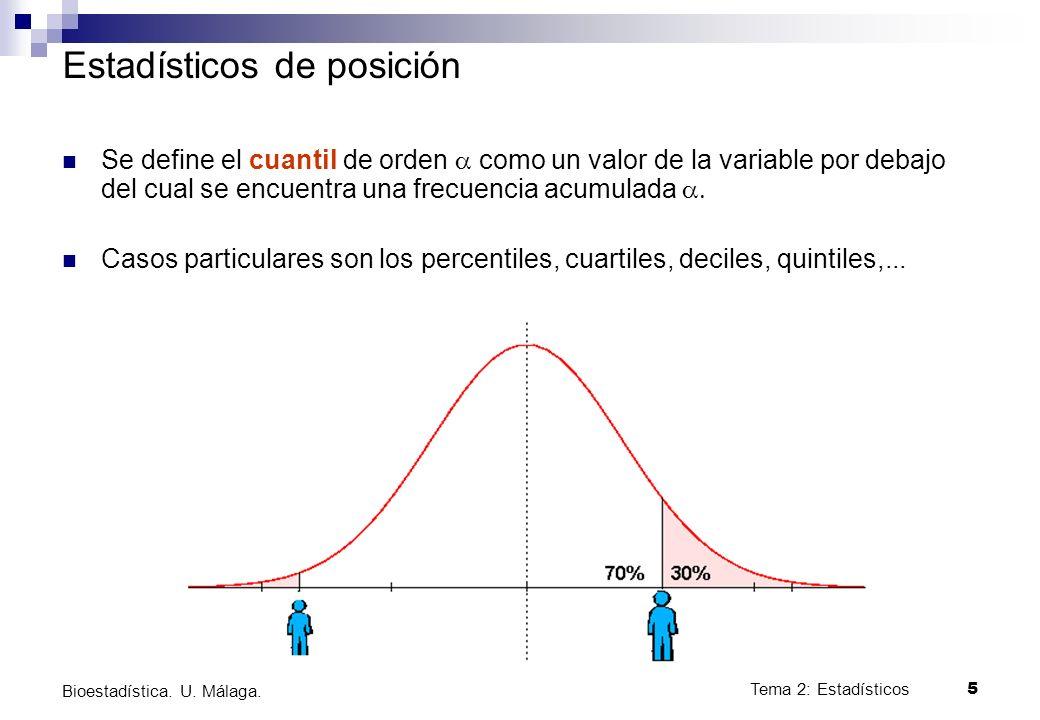 Tema 2: Estadísticos5 Bioestadística. U. Málaga. Estadísticos de posición Se define el cuantil de orden como un valor de la variable por debajo del cu