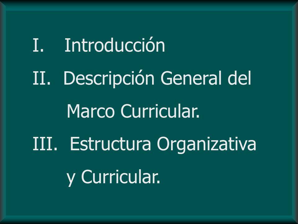 I. Introducción II. Descripción General del Marco Curricular. III. Estructura Organizativa y Curricular.
