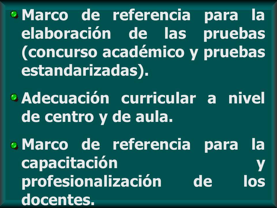 Marco de referencia para la elaboración de las pruebas (concurso académico y pruebas estandarizadas). Adecuación curricular a nivel de centro y de aul