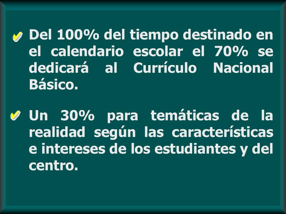 Del 100% del tiempo destinado en el calendario escolar el 70% se dedicará al Currículo Nacional Básico. Un 30% para temáticas de la realidad según las